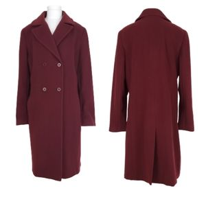 Talbots Burgundy double breasted wool coat